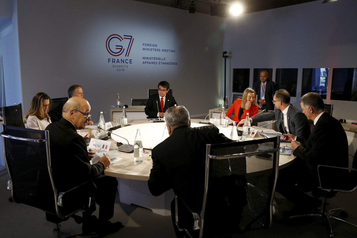 Group of Seven foreign ministers meet in Dinard, France on April 6, 2019. (Stephane Mahe/Pool photo via AP)