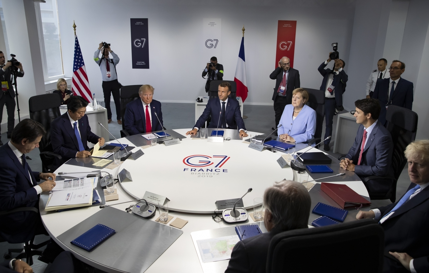 Group of Seven leaders attend a work session during summit in Biarritz, France on August 26, 2019. (Ian Langsdon, Pool via AP)