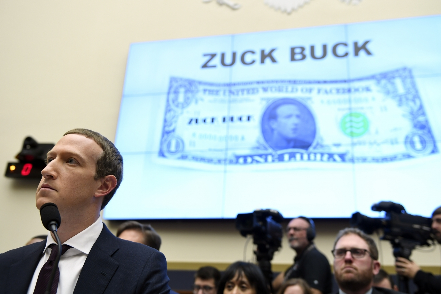 Facebook Chief Executive Officer Mark Zuckerberg testifies before the House Financial Services Committee on Capitol Hill in Washington, on October 23, 2019, to discuss his plans for the new cryptocurrency Libra. (AP Photo/Susan Walsh)