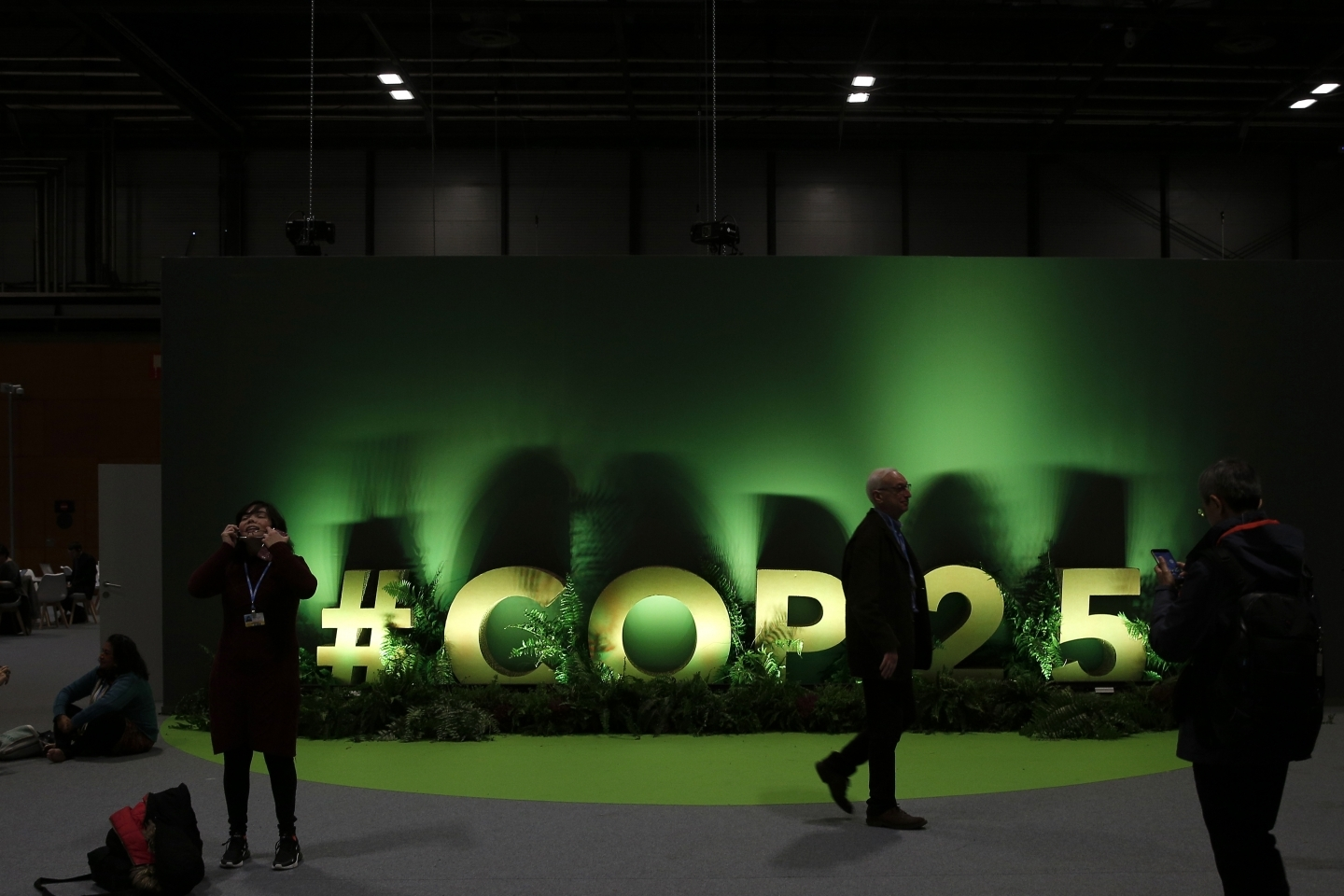A sign at the COP25 climate talks in Madrid, Spain, Tuesday, December 3, 2019. (AP Photo/Manu Fernandez)