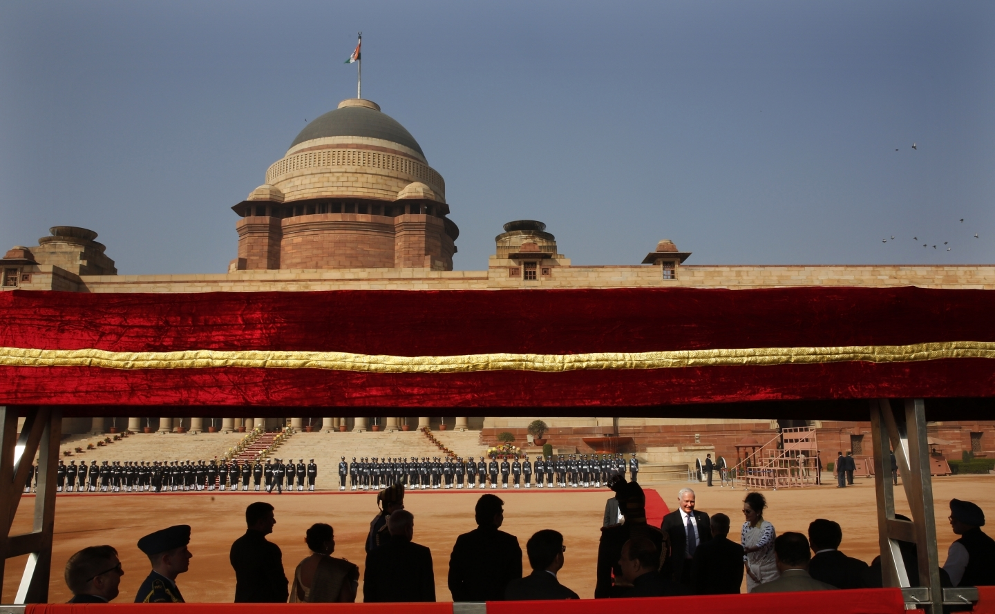 A ceremonial reception at the Indian presidential palace attended by former Governor General David Johnston in New Delhi, India, Monday, Feb. 24, 2014. (AP Photo/Manish Swarup)
