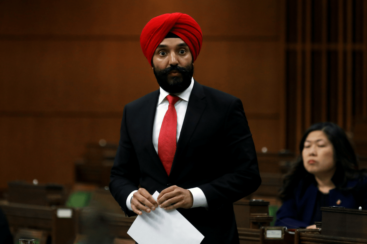 Canada's Minister of Innovation, Science and Industry Navdeep Bains speaks in the House of Commons April 11, 202 (Reuters/Blair Gable)