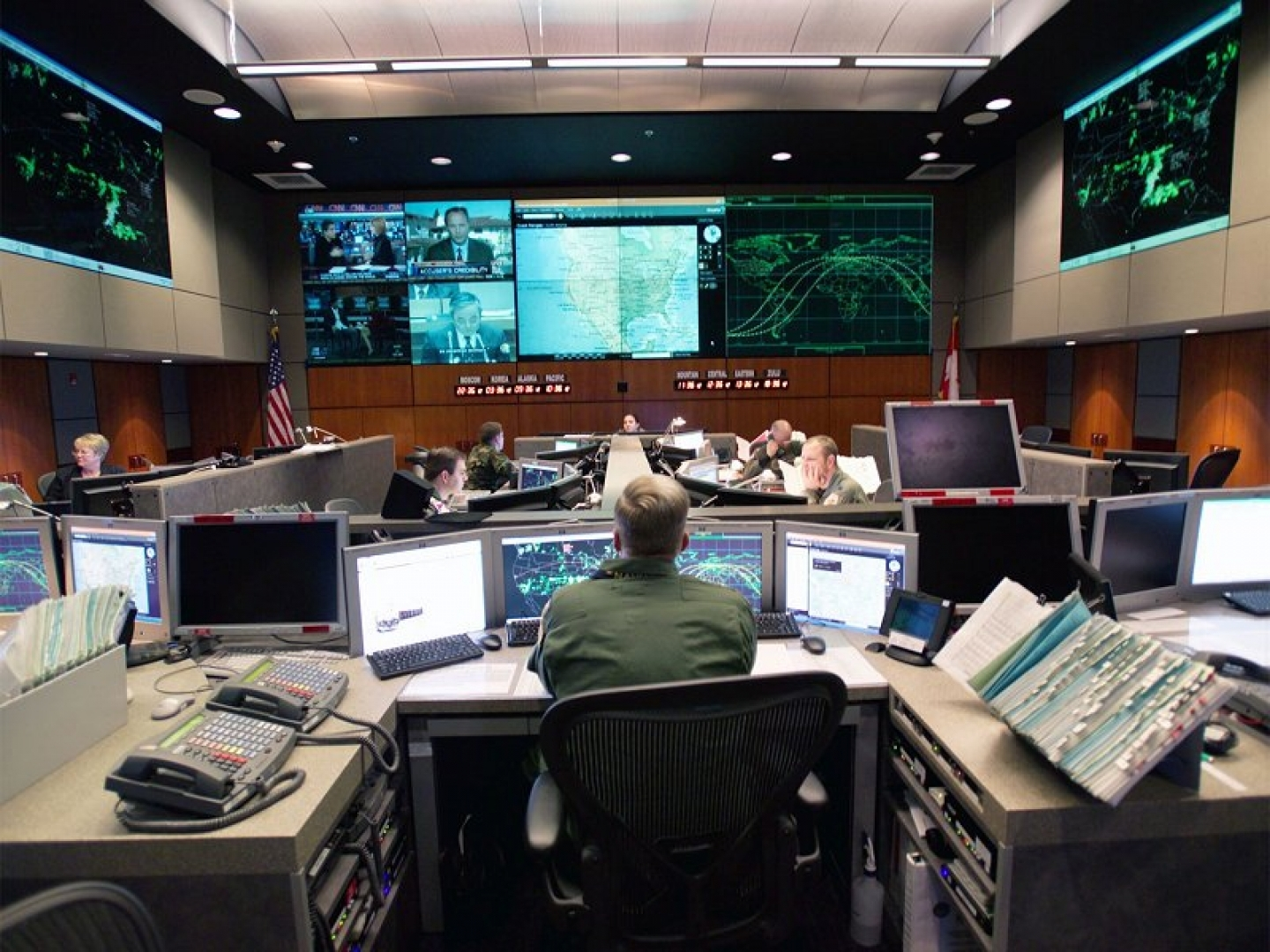 NORAD Tactical Operations Center,  (NORAD, marked as public domain - Wikimedia Commons)