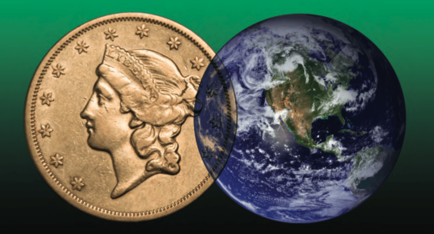 Stock image of a coin and the globe