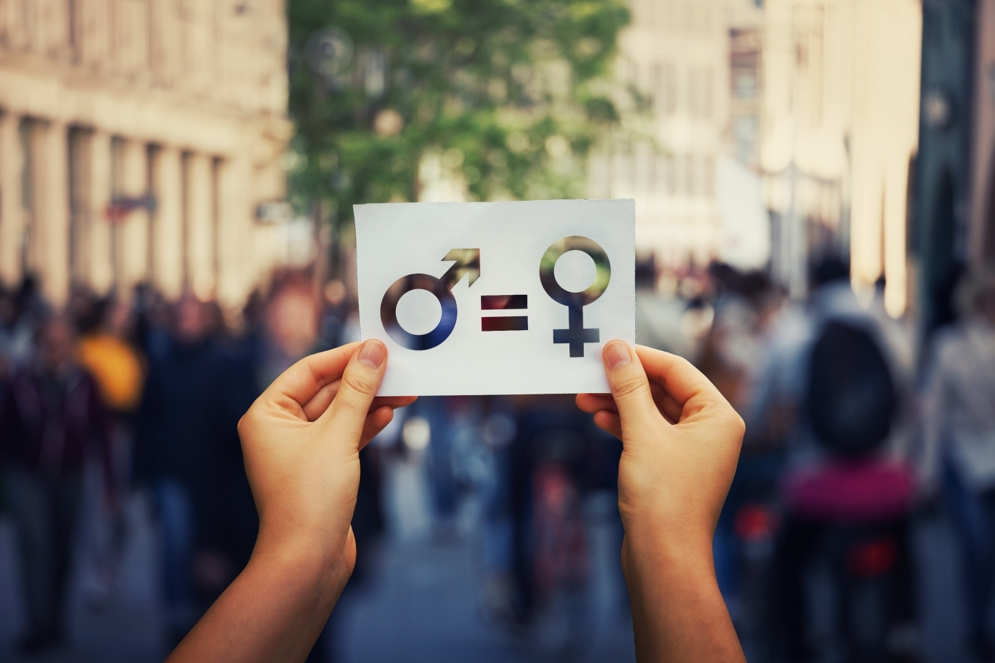 Display of gender equality concept through signage (Shutterstock)
