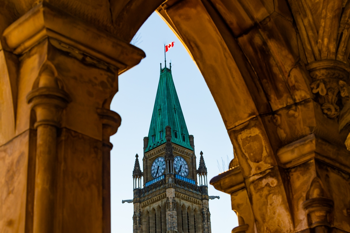 Peace Tower at the Parliament of Canada in Ottawa Framed in Arch. (Shutterstock)