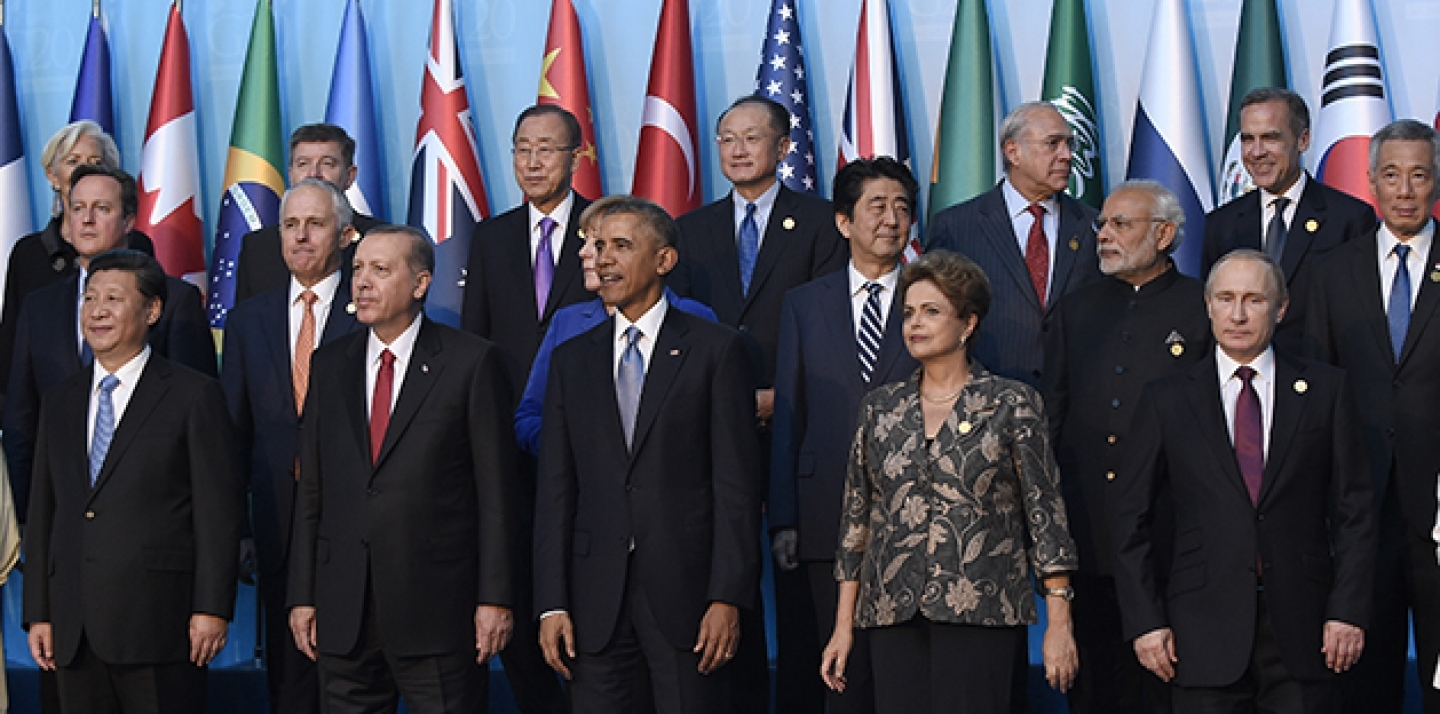 A group photo of world leaders during the G20 Summit in Antalya, Turkey, taken on Sunday, November 15, 2015.  The G20 issued its final communiqué on November 16. (AP Photo/Susan Walsh)
