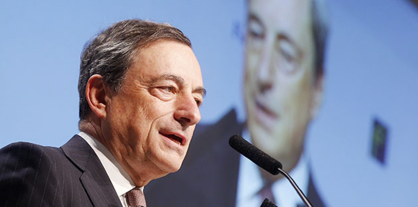 European Central Bank President Mario Draghi delivers a speech at the European Banking Congress in Frankfurt, Germany. (AP Photo/Michael Probst, File)