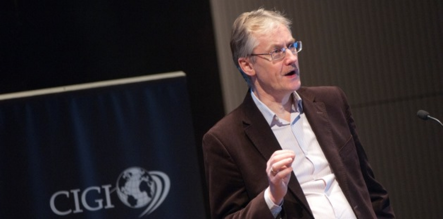 Renowned scholar and author Mike Hulme address climate change at CIGI's Signature Lecture. (Lisa Malleck/CIGI)