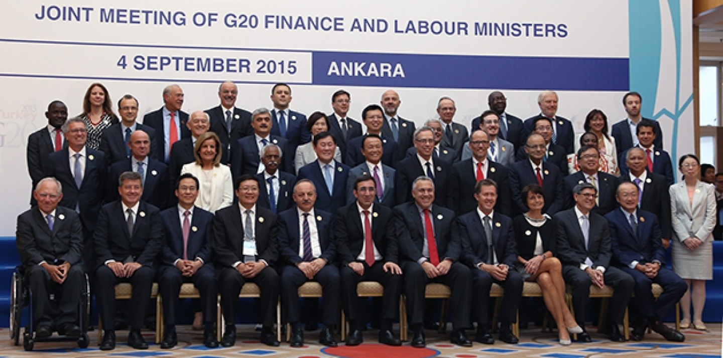 G20 finance and labour ministers and central bank governors pose for a group photo as they began a two-day meeting to discuss the global economy in the Turkish capital Ankara, Turkey, Friday, Sept. 4, 2015. (AP Photo/Burhan Ozbilici)