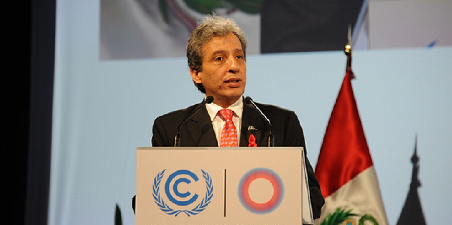 Manuel Pulgar-Vidal speaks at the UN Climate Change Conference in Lima, Peru. (UNclimatechange Photo via Flickr CC)