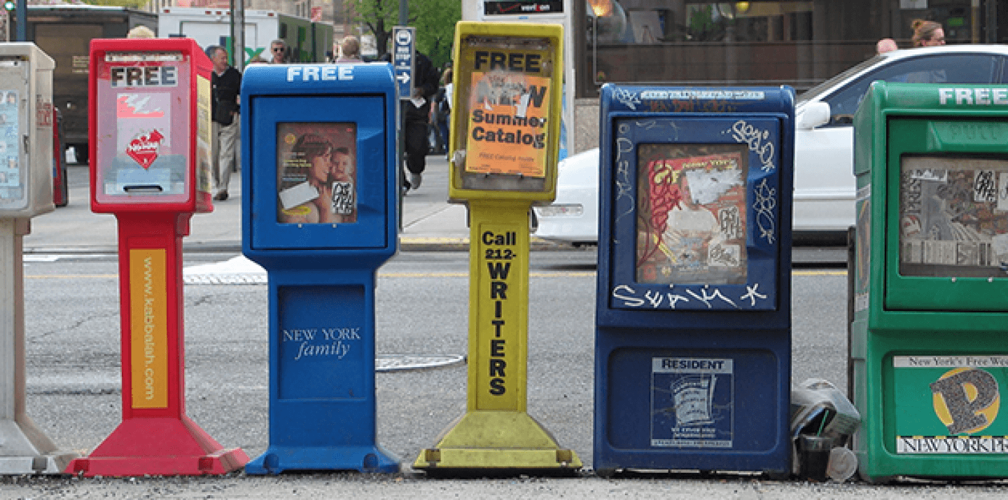 Newspaper stands on the street in New York City. (Shutterstock)