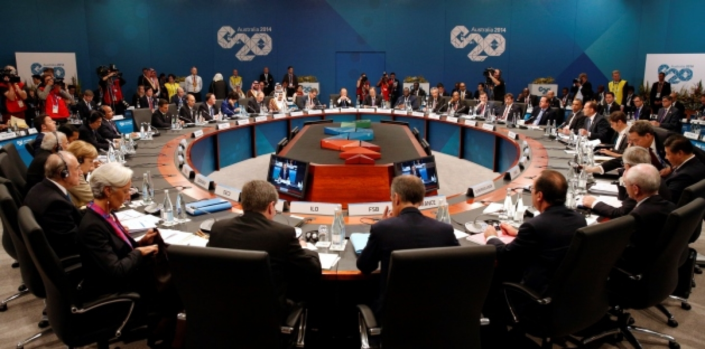 Leaders meet at the first plenary session at the G20 summit in Brisbane. (AP Photo/Kevin Lamarque, Pool)
