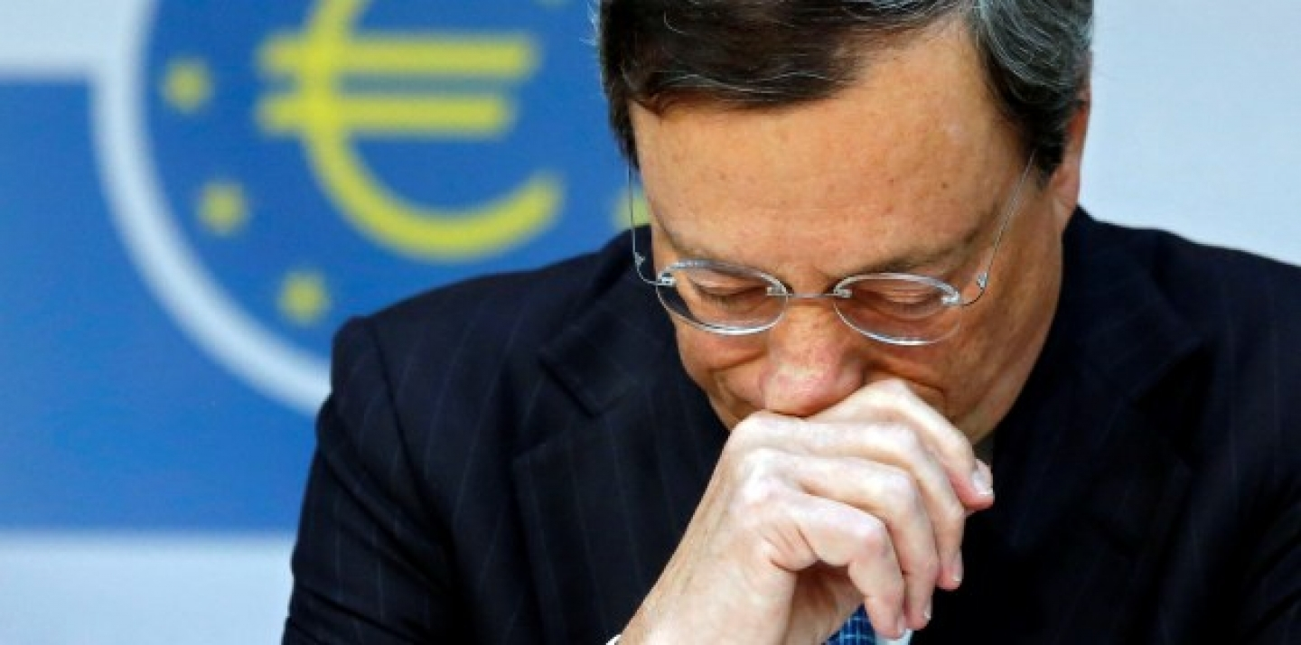 European Central Bank (ECB) president Mario Draghi, in Frankfurt during the press conference following the Governing Council meeting.(AP Photo: Mario Vedder/DAPD)