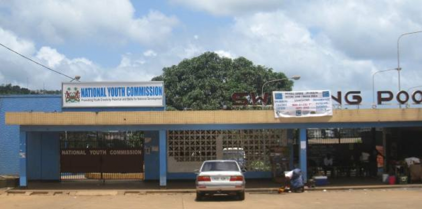 The National Youth Commission; the office was recently constructed inside an emptied outdoor pool at the National Stadium in Freetown (Michael Lawrence).