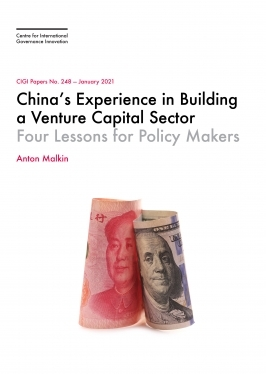 Cover of CIGI paper no. 248 with renminbi and US-dollar bills