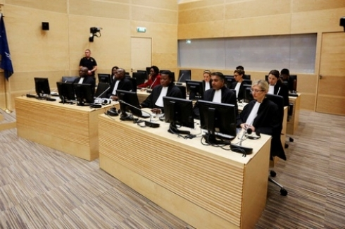 Overview of the courtroom at the start of the sentence of Congolese warlord Thomas Lubanga at the International Criminal Court (ICC) in The Hague. (AP Photo/Jerry Lampen, Pool)
