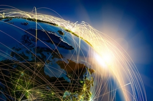 Stock Image - Network over the Earth