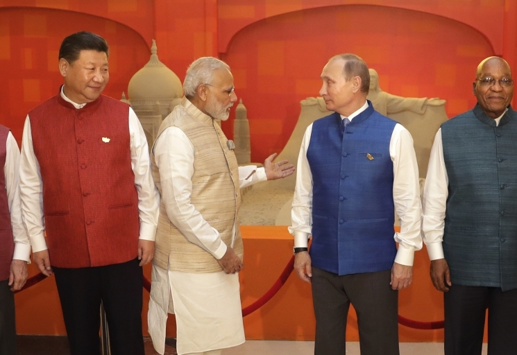 Brazilian President Michel Temer, Chinese President Xi Jinping, Indian Prime Minister Narendra Modi, Russian President Vladimir Putin, and South African President Jacob Zuma (The Associated Press)