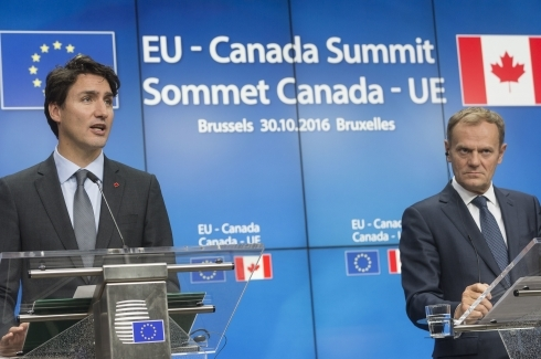 Canadian Prime Minister Justin Trudeau at EU-Canada summit, Oct. 30, 2016 (AP Photo/Thierry Monasse)