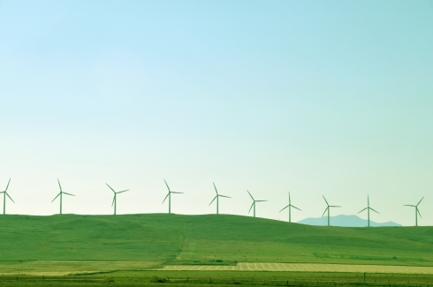 Prairies showing wind turbines
