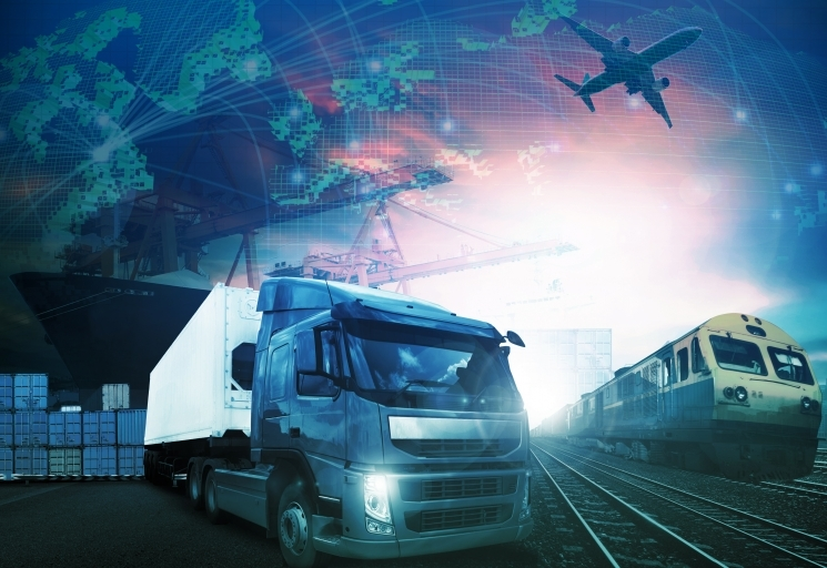 World trading with truck,trains, ship and air cargo