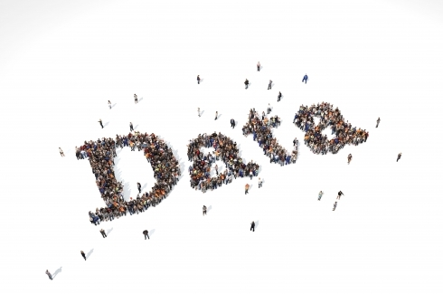 Groups of people forming the word data