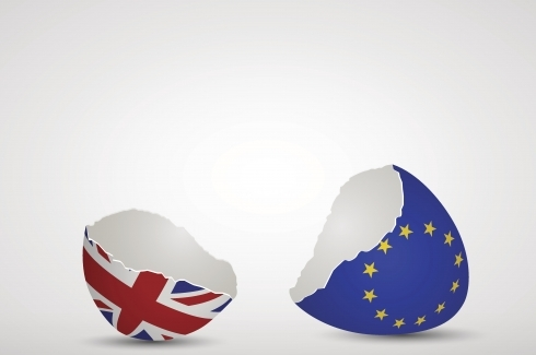 Broken eggshell with EU and UK flags
