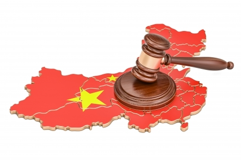 China map and gavel