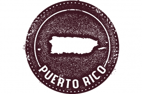 vintage Puerto Rico travel stamp