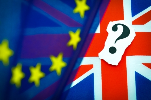 EU and UK flags with question mark