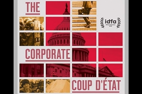 "Close-up of promotional poster for the film ""The Corporate Coup D'État"" (White Pine Pictures)"