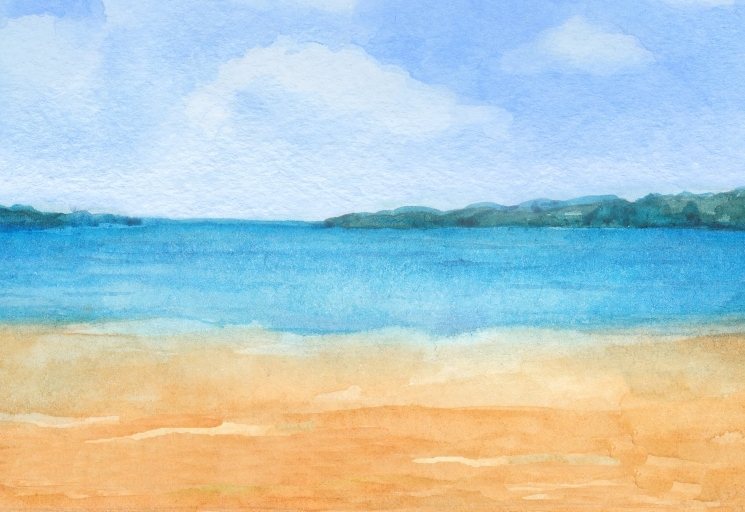 beach and ocean watercolour