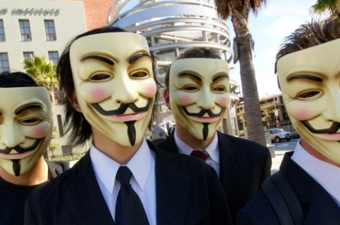 Anonymous with Guy Fawkes masks at the Scientology area in Los Angeles. By Vincent Diamante [CC-BY-SA-2.0 (http://creativecommons.org/licenses/by-sa/2.0)], via Wikimedia Commons