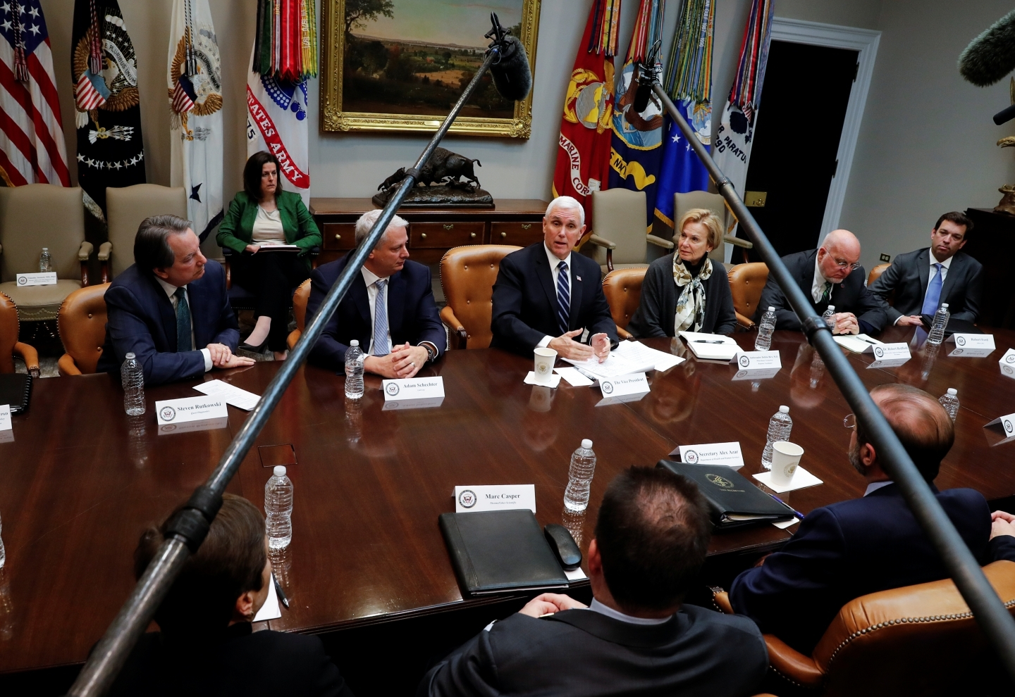 US Vice President Mike Pence speaks during a coronavirus briefing with diagnostic lab CEOs at the White House on March 4, 2020. (REUTERS/Carlos Barria)