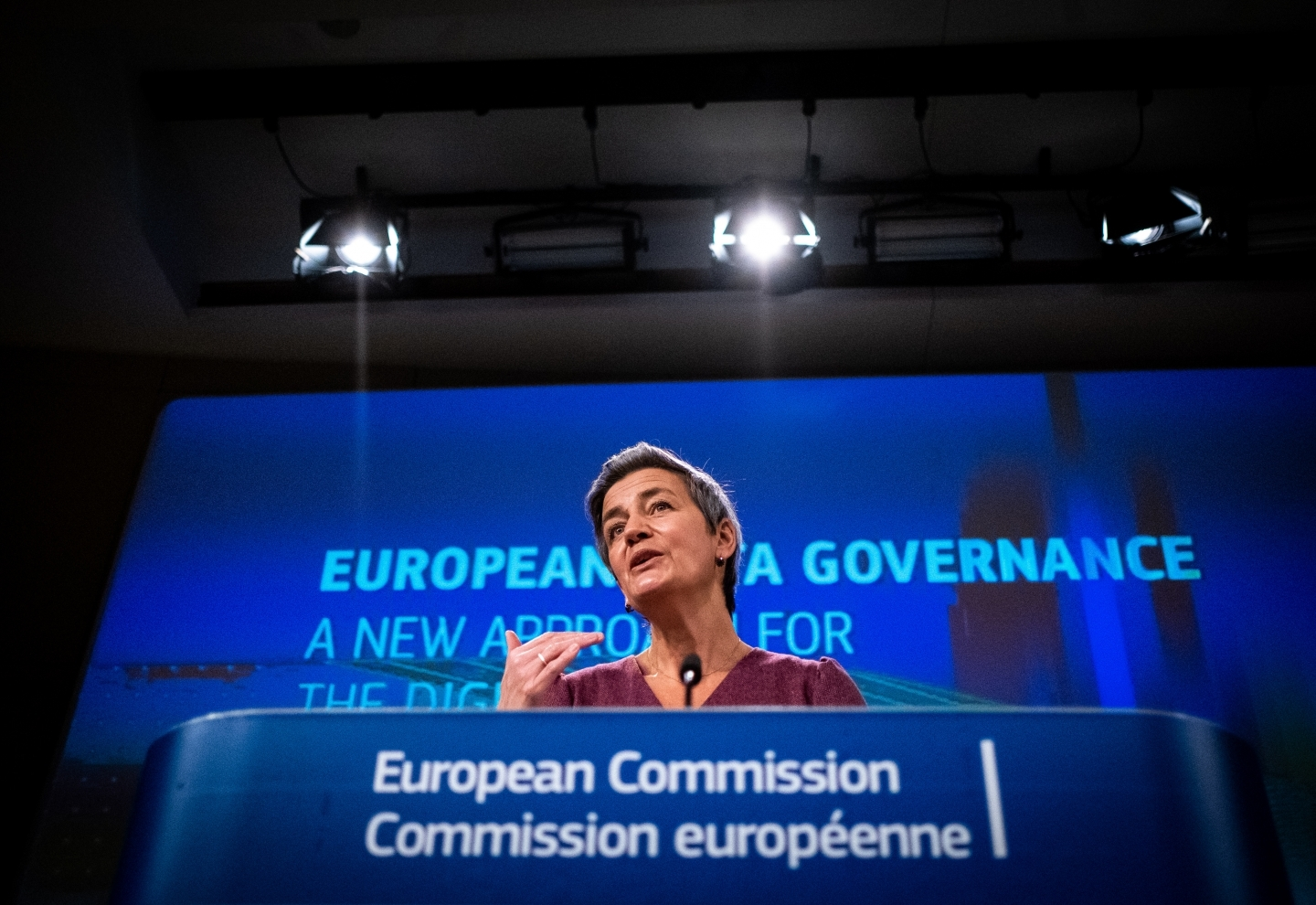 Margarethe Vestager speaks during a press conference on the Data Governance Act on November 25, 2020. (Reuters/Martin Bertrand)