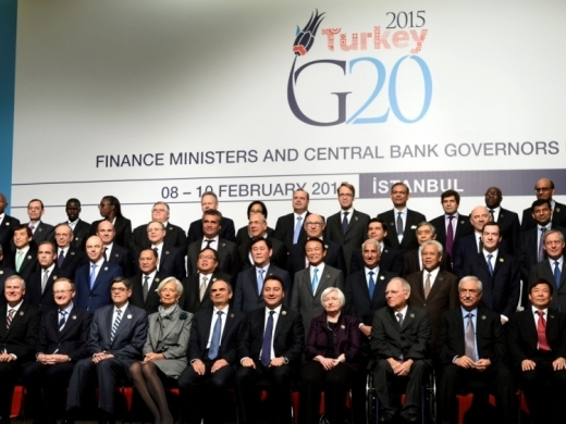 Group photo of the finance ministers and central bankers from the Group of 20 wealthy and developing nations in Istanbul, Turkey, Tuesday, Feb. 10, 2015. (AP Photo)