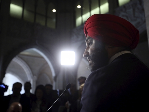 Canada's Innovation, Science and Industry Minister Navdeep Bains speaks during a news conference on Parliament Hill in Ottawa (REUTERS/Chris Wattie)