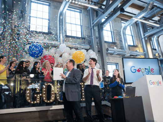 Prime Minister Trudeau helps to officially open the Google offices in Kitchener. January 14, 2016.