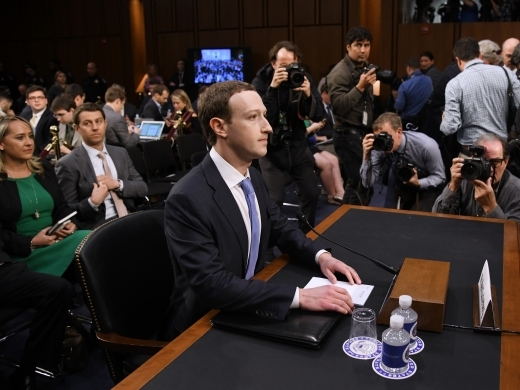 Facebook CEO Mark Zuckerberg testifies before the Senate judiciary and commerce committees on Capitol Hill on April 10, 2018. (Olivier Douliery/Abaca)
