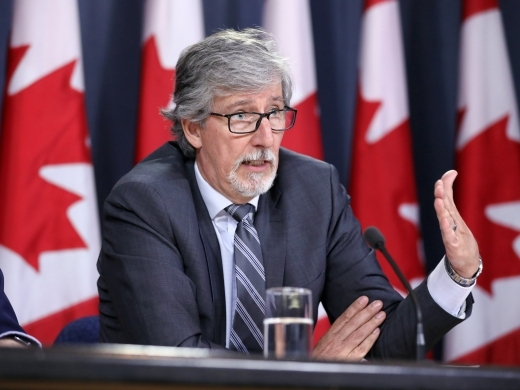 Canada's Privacy Commissioner Daniel Therrien speaks during a news conference in Ottawa on April 2019. (REUTERS/Chris Wattie)