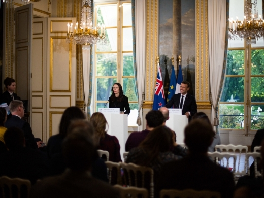 New Zealand's Prime Minister Jacinda Ardern and French President Emmanuel Macron during a press conference about the Christchurch Call initiative on May 15, 2019. (Raphael Lafargue/Abaca Press)