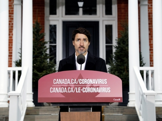 Canada's Prime Minister Justin Trudeau speaks during a news conference at Rideau Cottage as efforts continue to help slow the spread of coronavirus disease (COVID-19), in Ottawa, Ontario, Canada March 29, 2020. (REUTERS/Blair Gable)