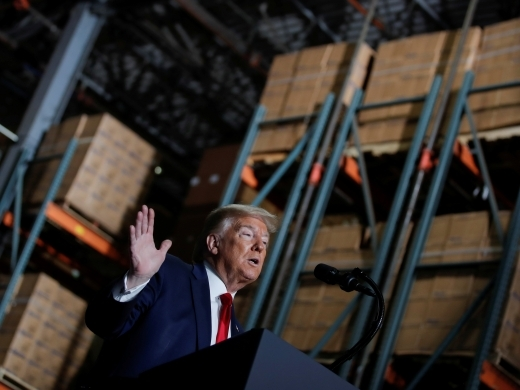 resident Trump speaks at medical supplies distributor Owens & Minor in Allentown, Pennsylvania May 14, 2020. REUTERS/Carlos Barria