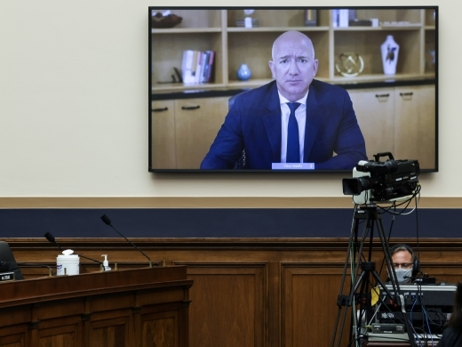 Amazon CEO Jeff Bezos testifies via video conference during the congressional antitrust hearings in Washington on July 29, 2020. (Graeme Jennings/REUTERS)