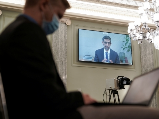 Google Chief Executive Officer Sundar Pichai testifies remotely during the Senate Commerce, Science, and Transportation Committee hearing on October 28, 2020. (Reuters/Greg Nash)
