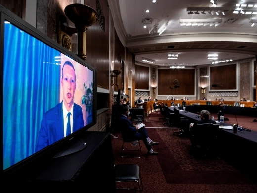 Mark Zuckerberg testifies testifies remotely during a Senate Judiciary Committee hearing in Washington on November 17, 2020. (Bill Clark/Pool via Reuters)