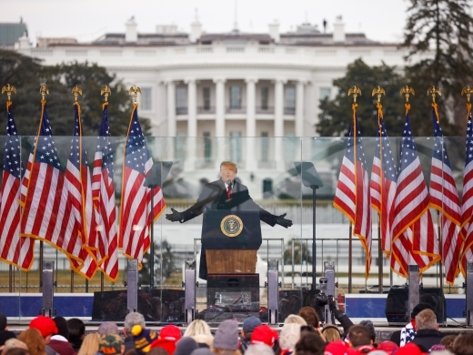 President Donald Trump holds a rally to contest the certification of the 2020 US presidential election results in Washington DC on January 6, 2021. (Reuters/Jim Bourg)