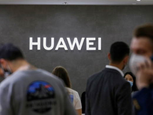 The Huawei logo at the IFA consumer technology fair in Berlin, Germany on September 3, 2020. (Reuters/Michele Tantussi/File Photo)