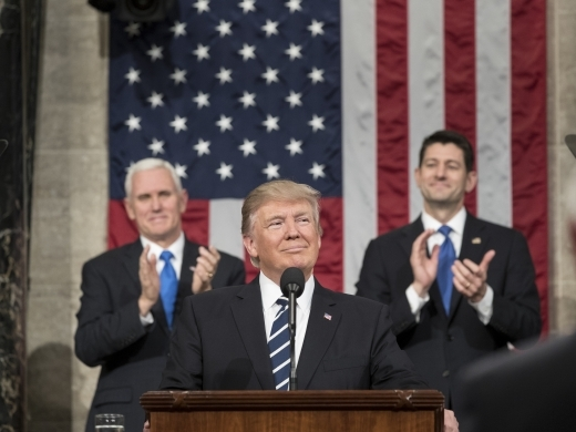 President Donald Trump addresses Congress, flanked by Vice President Mike Pence and Speaker of the House Paul Ryan, in February 2017. (White House Photo/Shealah Craighead)